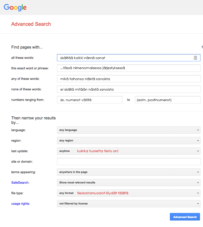 google-advanced-search-ohjeet