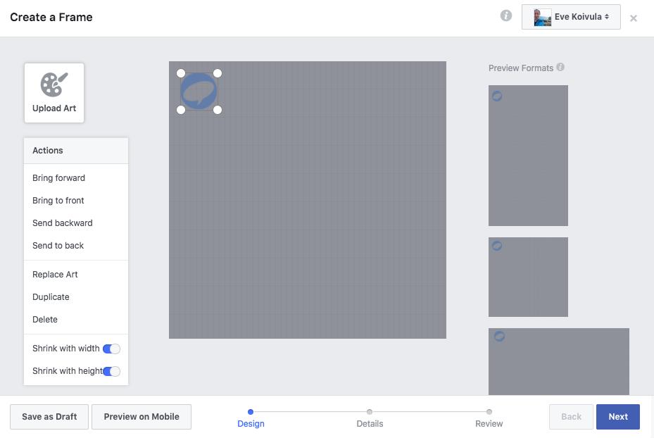 "Facebook-kehys ohjeet ""Design"""